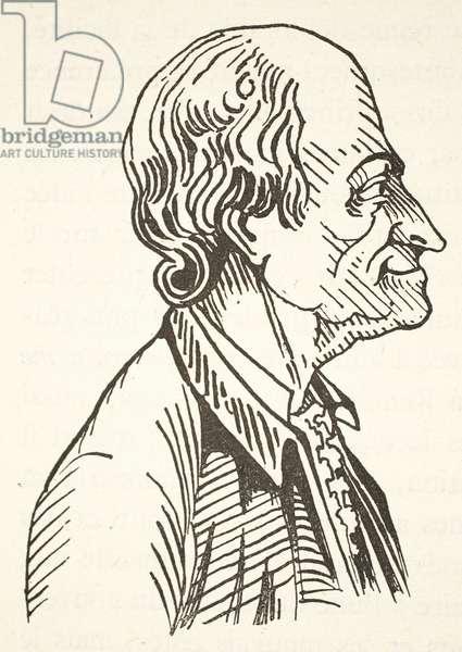 Voltaire, copy by Boris Mestchersky (d.1957), illustration from 'Histoire de la Nation Francaise', Sciences, Volumes I & II, by Gabriel Hanotaux (1853-1944), 1924 (litho)