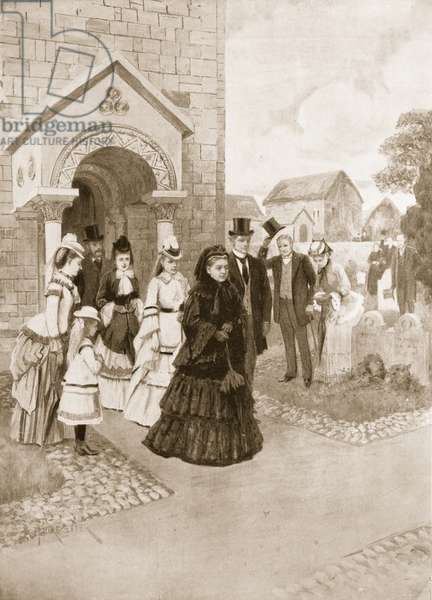 Queen Victoria's life at Osborne: Her Majesty at Whippingham Church, drawn from a contemporary picture in the Illustrated London News (litho)