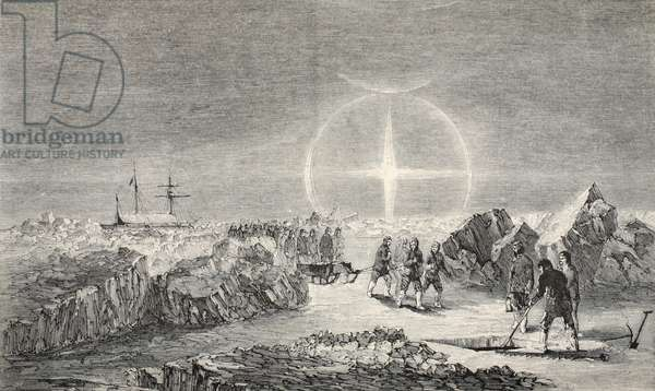 A Funeral on the Ice, the Effect of Paraselena (Mock Moons) 1859 (litho)