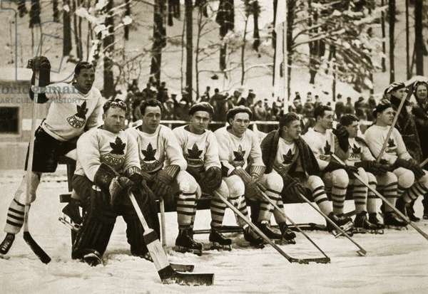The Canadian ice-hockey team, previously the undisputed world champions, came second in the tournament, 1936 (b/w photo)