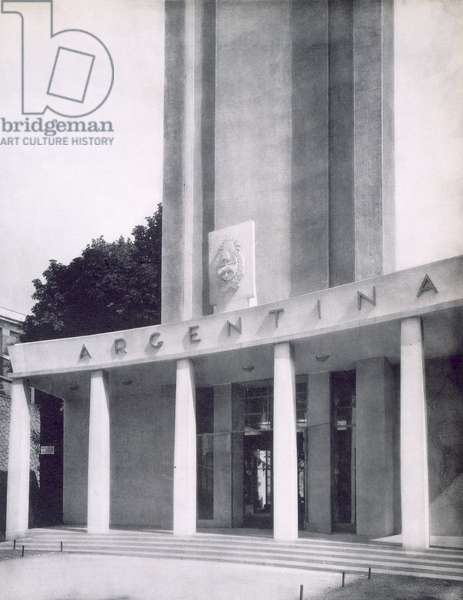 The Argentinian building at the Paris International Exposition, 1937 (b/w photo)
