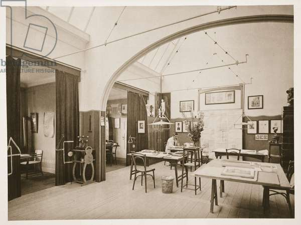 Studio designed by Joseph Maria Olbrich (1867-1908), from a book of Secessionist Designs, published by Wasmuth, Berlin, early 20th century (litho)