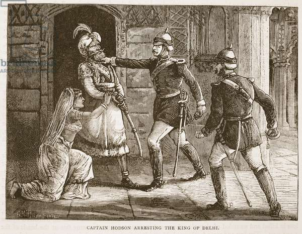 Captain Hodson Arresting the King of Delhi, illustration from 'Cassell's Illustrated History of England' (engraving)