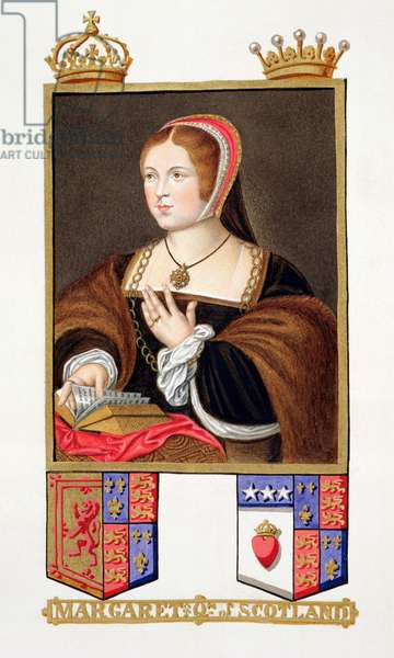 Portrait of Margaret Tudor (1489-1541) Queen of Scotland from 'Memoirs of the Court of Queen Elizabeth' after a portrait by Daniel Mytens (c.1590-1642), published in 1825 (w/c and gouache on paper)