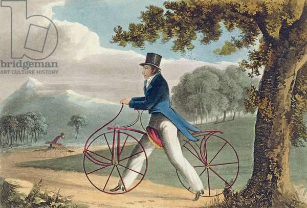 Pedestrian Hobbyhorse, from Ackermann's Repository of Arts, 1819 (colour litho)