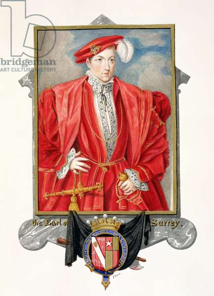Portrait of Henry Howard (c.1517-47) Earl of Surrey from 'Memoirs of the Court of Queen Elizabeth', published in 1825 (w/c and gouache on paper)