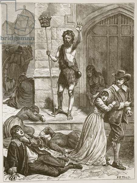 The Maniac pronouncing the doom of London during the Great Plague, illustration from 'Cassell's Illustrated History of England' (engraving) (sepia photo)