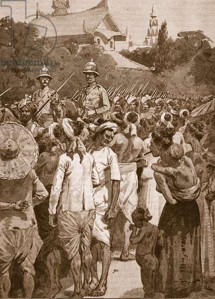 The British Forces entering Mandalay, 1885, illustration from 'Cassell's Illustrated History of England' (engraving) (sepia photo)