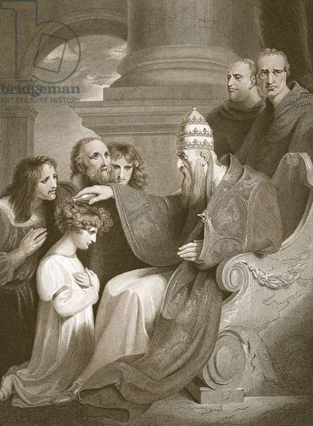 Prince Alfred before Pope Leo the III, engraved by J. Stow, illustration from David Hume's 'The History of England', pub. by R. Bowyer, London, 1812 (engraving)