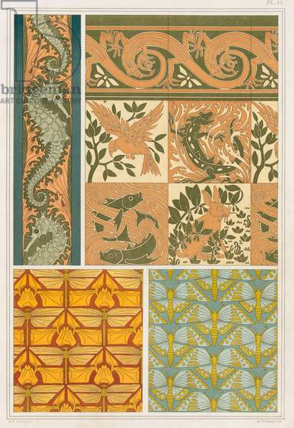 """Designs for wallpaper borders and Cermaic Tiles: """"Seahorses and Seaweed"""", """"Dragonflies and Iris"""", """"The Four Elements with Lizard Border"""" and """"Butterflies"""",  from 'L'Animal dans la Decoration' by Maurice Pillard Verneuil,  pub. 1897 (colour lithograph)"""