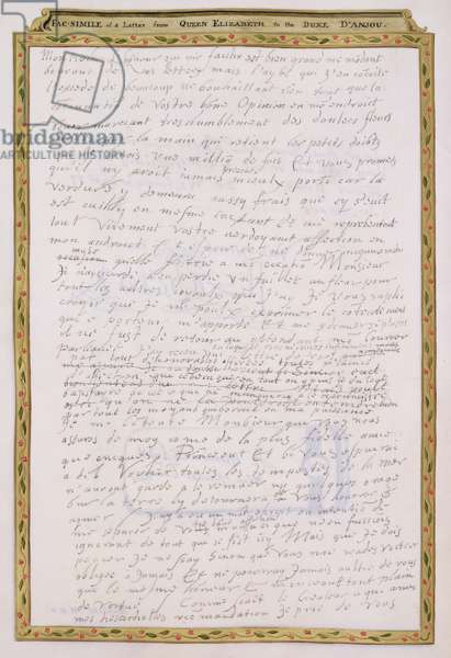 Facsimile of a letter from Elizabeth I to Francois de Valois, Duc d'Anjou and d'Alencon from 'Memoirs of the Court of Queen Elizabeth', published in 1825 (pen and ink on paper) (see 146740)