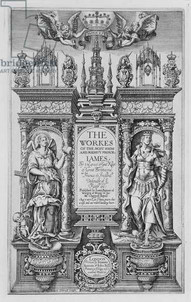 Title Page of 'The Works of James I', engraved by Renold Elstrack (1571-c.1630) 1616 (engraving)