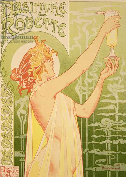 Reproduction of a poster advertising 'Robette Absinthe', 1896 (colour litho)