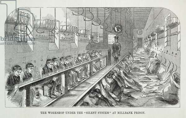 The Workshop under the 'Silent System' at Millbank Prison, from 'The Criminal Prisons of London and Scenes of Prison Life' by Henry Mayhew (1812-87) and John Binny, 1862 (engraving)