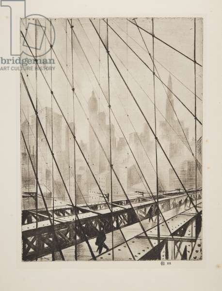 Looking Through Brooklyn Bridge, pub.1921 (etching)