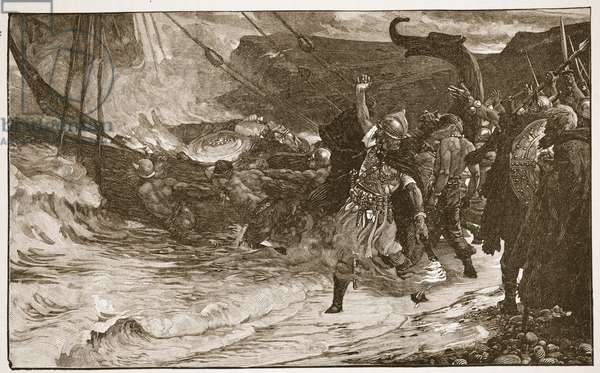 The Funeral of a Viking, illustration from 'The Church of England: A History for the People' by H.D.M. Spence-Jones, pub. c.1910 (litho) (sepia photo)