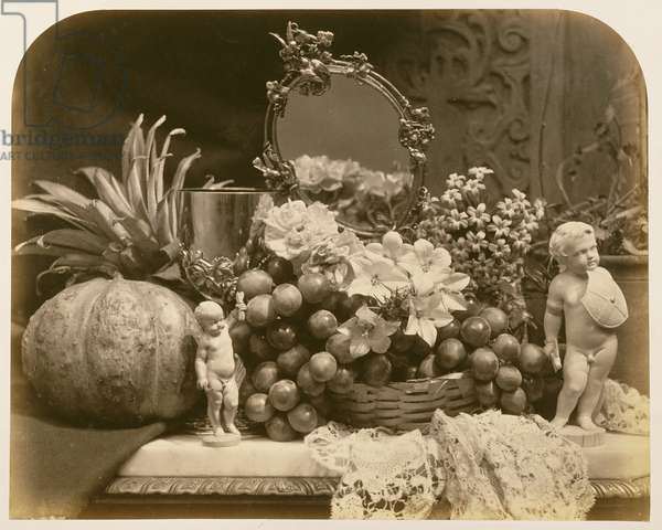 Still Life of Fruit with Mirror and Figurines, 1860 (sepia photo)