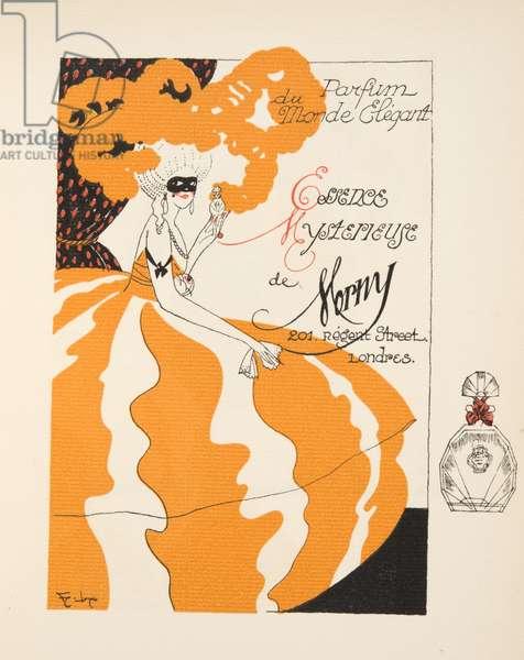 """Advertisement for """"Parfum du Monde Elegant, Essence Mysterieuse de Morny"""", from Gazette de Bon Ton, pub.  1920 (pochoir print)"""