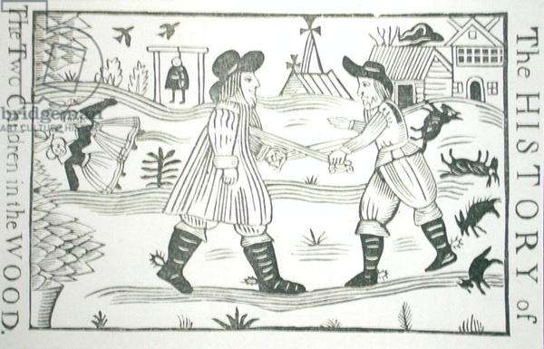 The History of the Two Children in the Wood, from a collection of chapbooks on esoterica, c14th-c17th (woodcut)