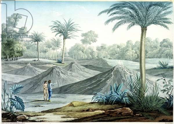 Volcanoes in the region of Turbaco, from 'Vues des Cordilleres et Monumens des Peuples Indigenes de l'Amerique' by Alexander de Humboldt (1769-1859) and Aime Bonpland (1773-1858), engraved by Bouquet, published 1810 (engraving)