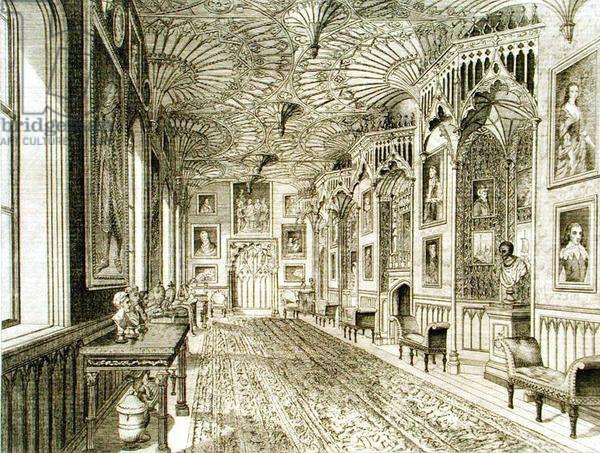 The Gallery, engraved by T. Morris, from 'Description of Strawberry Hill' by Horace Walpole, 1784 (engraving)
