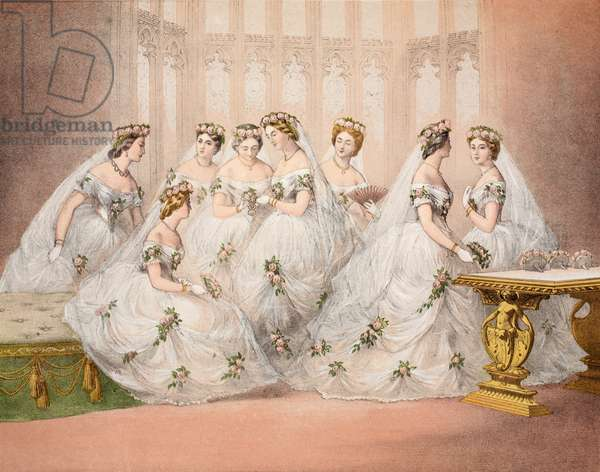 The Bridesmaids, 10th march, 1863, from 'A Memorial of the Marriage of Edward VII and Alexandra of Denmark', pub. 1864 (chromolitho)