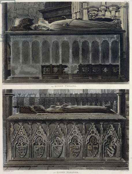 The Tombs of Queen Philippa and Queen Eleanor, plate 51 from 'Westminster Abbey', engraved by J. Bluck (fl.1791-1831) pub. by Rudolph Ackermann (1764-1834) 1812 (aquatint)