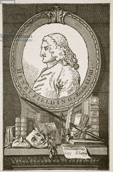 Henry Fielding, illustration from 'Cassell's Illustrated History of England' (engraving) (sepia photo)