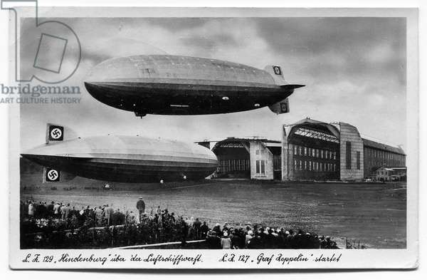 The 'Hindenburg' over the airfield; the Graf zeppelin launches (litho)