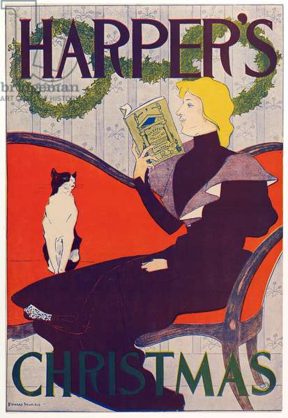 Poster advertising Harper's New Monthly Magazine, Christmas 1894 (colour lithograph)
