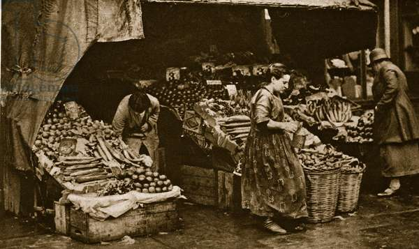 A Greengrocer of the Commercial Road, East End of London (sepia photo)