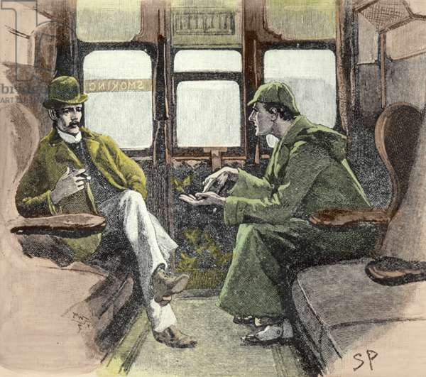 """Holmes Gave me a Sketch of the Events"", illustration for a Sherlock Holmes story by Arthur Conan Doyle (1859-1930) in 'The Graphic', 1901 (litho) (later colouration)"