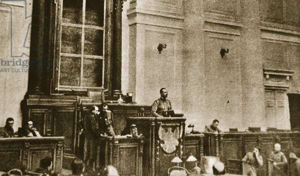 First session of the Soviet Duma, 1917 (sepia photo)