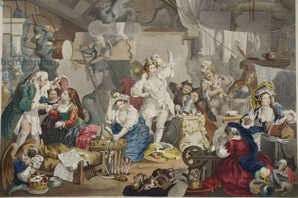 Strolling Actresses Dressing in a Barn, illustration from 'Hogarth Restored: The Whole Works of the celebrated William Hogarth, re-engraved by Thomas Cook', pub. 1812 (hand-coloured engraving)
