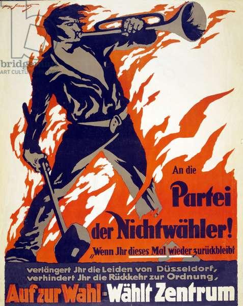 An die Partei der Nichtwähler! ... Auf zur Wahl; Wählt Zentrum, published 1919 (colour litho)