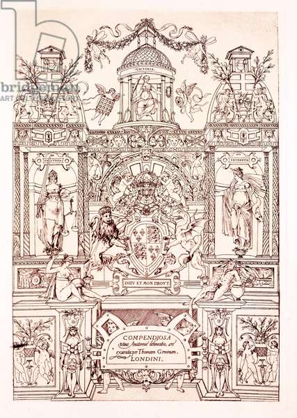 Frontispiece to Compendium of Anatomy, 1545 (engraving)