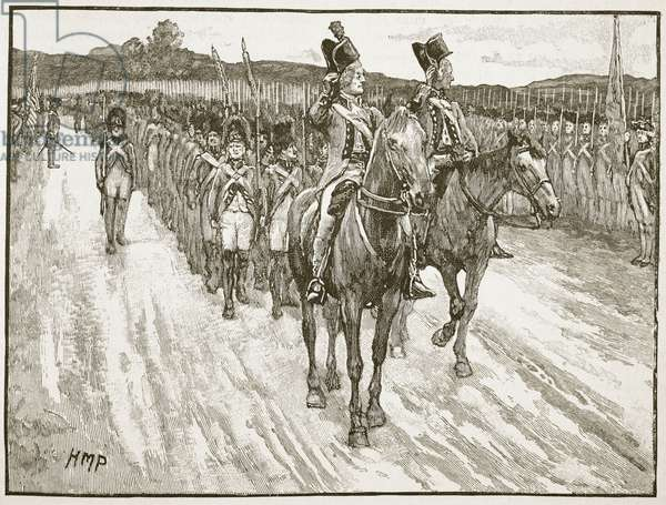 Surrender of Lord Cornwallis, York Town, 1781, illustration from 'Cassell's Illustrated History of England' (engraving) (sepia photo)