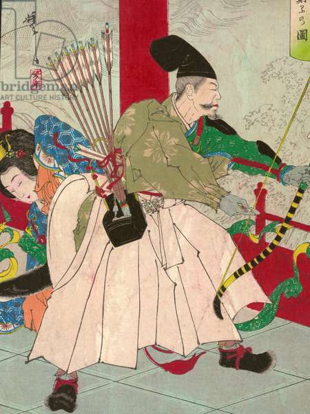Watanabe no Tsuna, with bow and arrows, at the Palace of the demon Ibaraki, pub. c.1880 (hand-coloured woodblock)