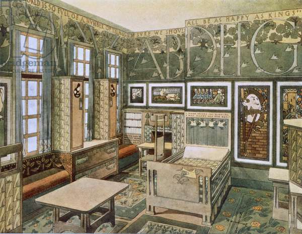 Nursery designed by Will Bradley in his house in Concord, Massachusetts, from 'Documents d'Art Moderne', 1900-03 (colour litho)