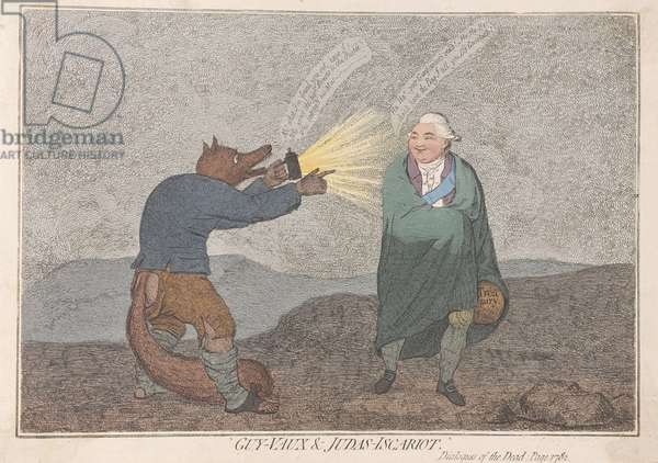 Guy-Vaux and Judas-Iscariot, pub. 1782 (hand coloured engraving)