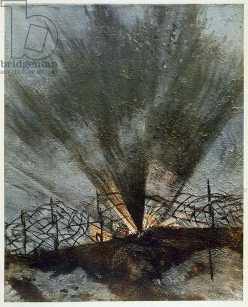 Bursting Shell, from British Artists at the Front, Continuation of The Western Front, 1918 (colour litho)