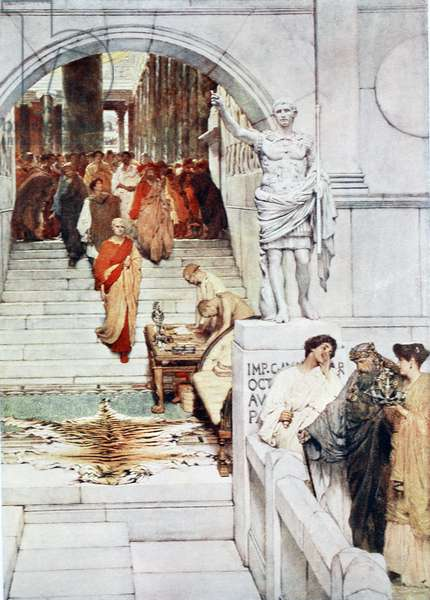 A visit of Agrippa to Augustus, illustration from 'Hutchinson's History of the Nations', 1915 (colour litho)