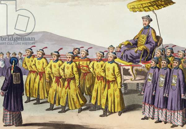 Emperor Ch'ien Lung carried in Triumph, plate 18 from 'Le Costume Ancien et Moderne' by Jules Ferrario, published c.1820s-30s (colour litho)