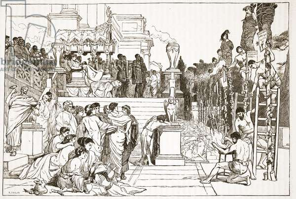 Nero's torches - burning of Christians at Rome (litho)