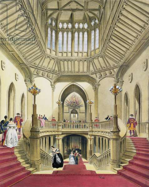 The Grand Staircase, Windsor Castle, from 'A History of the Royal Residences' by William Henry Pyne (1760-1943), 1838 (aquatint)