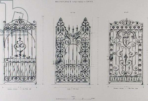 Designs for cast-iron railings, from 'Macfarlane's Castings' (engraving) (b/w photo)