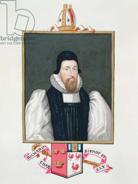 Portrait of Richard Cox (1500-81) Bishop of Ely from 'Memoirs of the Court of Queen Elizabeth', published in 1825 (w/c and gouache on paper)