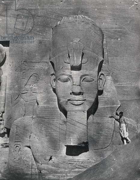 Colossal statue of Ramesses II at Abu Simbel, 1850 (b/w photo)