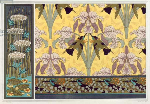 """Design for wallpaper border, fabric and panel: """"Dragonflies; Waterlillies and Flowering Rush"""", Humming Birds and Orchids"""" and Hummming Birds and Maiden Hair Fern"""" from 'L'Animal dans la Decoration' by Maurice Pillard Verneuil,  pub. 1897 (colour lithograph)"""