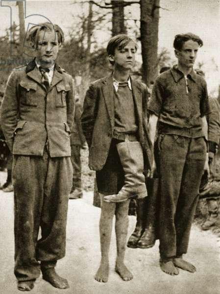 Three German boys, 1944-45 (b/w photo)